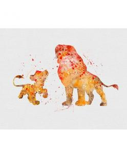 Lion King Simba & Mufasa Watercolor Art: Disney Prints, Lion King Simba, The Lion King Art, Disney Art Print, Disney Lion King Art, Cartoon Disney, Simba Lion King, Elreyleon Thelionking