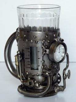 Looks like a Mr.Hubble cup of Tea.  Tea glass holder with thermometer :) ...perfect gift for a tea drinking trekkie (borg): Steampunk Fashion, Glass Holders, Steam Punk, Fashion Steam, Steampunk Cup, Steam Boiler, Steampunk Gadget