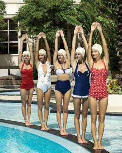 love these bathing suits: Vintage Swimsuits, Fashion, Bathing Suits, Style, Swimwear, Retro, Summer
