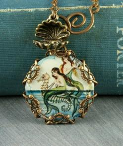 Mermaid Necklace Seahorse Necklace Oyster by ForTheCrossJewelry, $35.00: Necklace Oyster, Seahorses, Mermaid Necklace, Mermaids, Necklaces, Vintage Mermaid, Seahorse Necklace