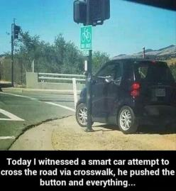 Small car use crosswalk? Lol RIDICULOUS!Funny Pictures Of The Day: Giggle, Funny Pictures, Smart Cars, Funny Stuff, Humor, Funnies, Smartcar