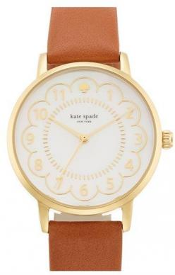 SOO obsessed with the scallops on this Kate Spade Watch!: Kate Spade Watch, Gold Watch, Kate Spade Dress, Scalloped Dial, Leather Band Watch, New York, Leather Strap Watch, Dial Leather