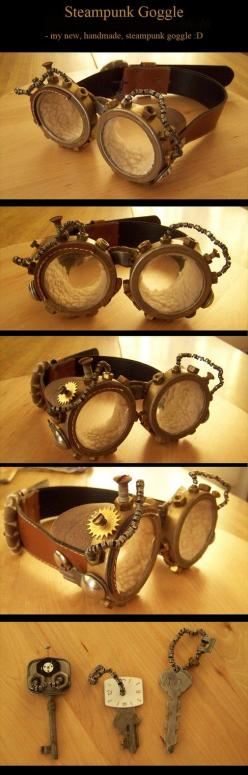 Steampunk Aviator Goggles by *kyphoscoliosis: Steampunk Fashion, Steampunk Aviator, Diy Steampunk Costume, Steampunk Glasses Goggles, Steampunk Diy Costume, Diy Goggles Steampunk, Aviator Glasses, Aviator Goggles Diy