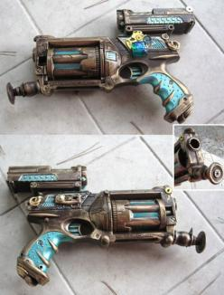 Steampunk gun.  I have one of these but I can't get mine to look right.  I will have to try a color scheme similar to this one, and looks like I need to attach fewer, but cooler things to it. LOL: Nerf Guns, Nerf Against, Steampunk Guns, Steampunk Stu