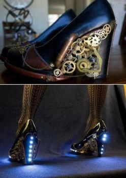 Steampunk shoes | via RebelsMarket Steampunk & Victorian. Check out http://www.designyourownperfume.co.uk to create some beautiful custom perfume to match your quirky steampunk style!: Fashion, Idea, Steampunk Shoes, Steampunkshoes, Style, Steampunk H