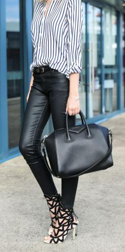 #street #style stripes + leather + heels @wachabuy: Shoes, Women S, Fashion Style, Street Style, Outfit, Leather Pants