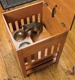 The Dog-Proof Cat Feeding Station will keep the dogs out and give your cat a secure place to eat. And you won't have to feed your kitty on the kitchen counter!s well as ventilation. In cinnamon stain. Anti-tipping hardware is included.  (Additional in