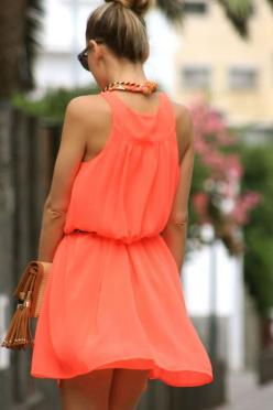 This dress is going to make me look tan: Summer Dress, Coral, Fashion, Style, Summer Colour, Dresses, Summer Color, Orange Dress