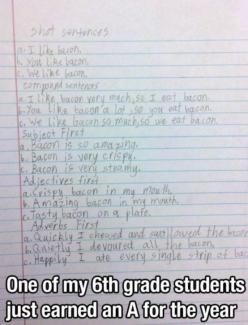 This sounds like it could become a Dr. Seuss book.....: Giggle, Student, Bacon Bacon, Funny Stuff, Humor, Funnies, Things, Kids