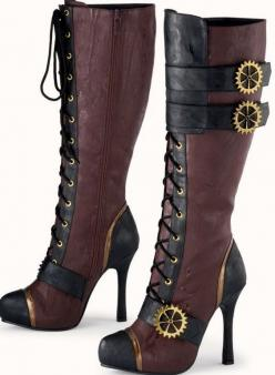 Women's Steampunk Leather Boots! 'Just put some gears on it and call it steammmmmpunk that's the trendy fashion now a days....' #Steampunk #SteamPunkFashion #WomensBoots: Knee High, Shoes, Steampunk Boots, Pyramid Collection, Fashion, Stea
