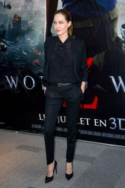 Angelina Jolie was dressed by Saint Laurent for a second consecutive World War Z premiere.