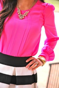 black and white stripes with a color pop: Statement Necklace, Style, Dress, Hot Pink, Pink Top
