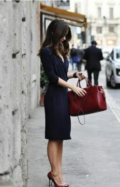 Deep red leather Bag Tote Doctor bag: Street Style, Navy Dress, Work Outfit, Navy Blue Outfit, Wrap Dress