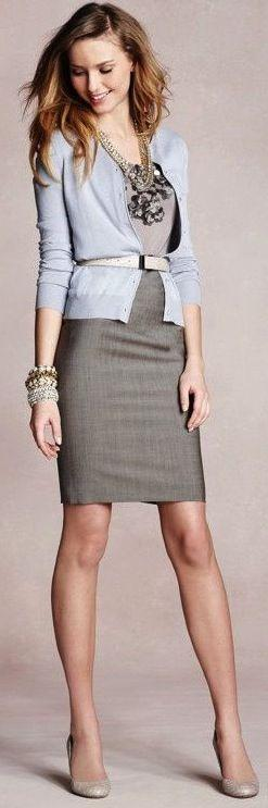 Plain grey sleeveless dress, with light cardigan and nude pumps. Simpler jewelry than this though.-- http://popsu.gr/qqAw: Work Clothes, Business Attire, Sheath Dress, Workoutfit, Belted Cardigan, Work Outfits, Business Casual, Workwear