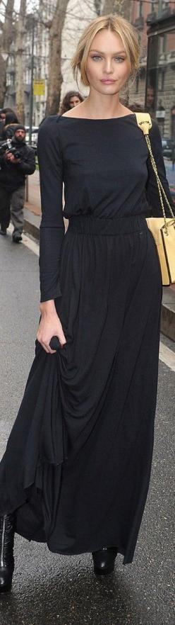 Simple, elegant, long, knit black dress.  Could accessorize a million different ways for totally different looks from dressy to casual.  Love, love, love it.: Long Black Dresses, Style, Long Sleeve Maxi Dress, Black Maxi Skirt Outfit Ideas, Black Maxi Dre