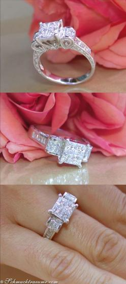 Antique Style: Pretty Diamond Ring, 1,47 cts. H-SI, WG-18K ♥✤ | KeepSmiling | BeStayClassy: Pretty Diamond, Diamond Rings, Diamonds, Style So Pretty, Antique Style So, Wedding Rings, Engagement Rings, Princess Cut