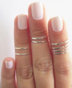 Dainty Thin Knuckle Rings <3: Midi Rings, Nail Polish, Style, Pretty Nails, Knuckle Rings, White Nails, Pink And White Nail