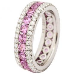 https://www.bkgjewelry.com/ruby-rings/639-14k-yellow-gold-diamond-ruby-ring.html Pink Sapphire Diamond Platinum Eternity Band Ring | From a unique collection of vintage band rings at https://www.1stdibs.com/jewelry/rings/band-rings/