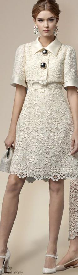 Such beautiful lace and a lovely shape, but please lose the atrocious buttons! Dolce & Gabbana   Winter 2015