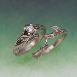 These are like those elvish rings I pinned before, and I was wondering how to incorporate a stone for like an engagement ring and then go simple for the wedding band, so these work great!