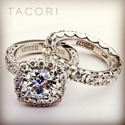 WOW..a girl can dream right?!! Lol Tacori huge diamond engagement ring and matching wedding band.
