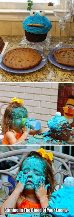 I laughed way too hard at this lol: Cake, Cookie Monster, Giggle, Funny Stuff, Funnies, Blood, Kid