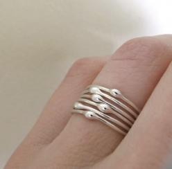 Sterling Silver Stacking Ring Set  Rain  Set of Six by esdesigns, $45.00...if you know me, you know these were made for me(;