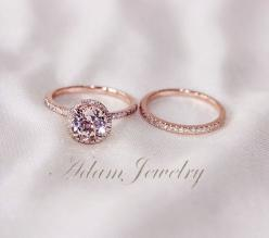 Two-Ring Set! Round Cut  7mm VS  Halo 14K Rose Gold Morganite Ring. It's under $600 on Etsy and so, so pretty!: Diamond Wedding Bands, Rose Gold Promise Ring, Rose Gold Morganite Ring, Morganite Wedding Ring, Rose Gold Wedding Ring, Engagement Rings,