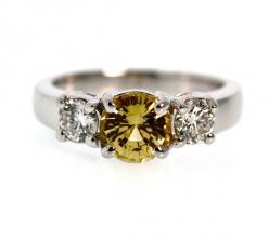 Yellow Sapphire and Diamond Three Stone Ring | Tara Nash LLC