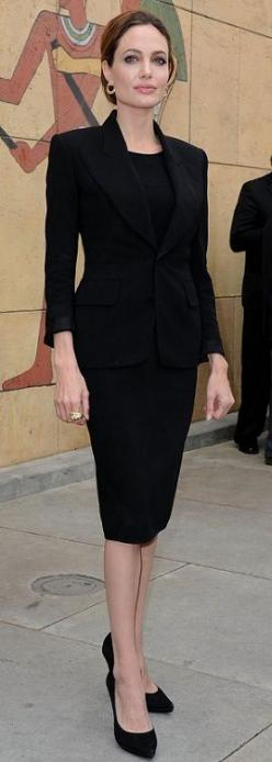 Every woman should have a classic black suit - warm it up with a colorful scarf or a mishmash of jewelry.: Celebrities Fashion, Angelina Jolie, Black Suits, Celebrity Fashion, Angelinajolie, Black Dress, Classic Black, Funeral Outfit