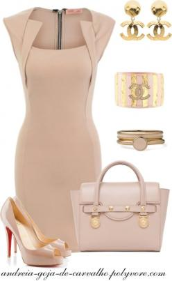 """""""A KISS IS JUST A KISS..."""" by andreia-goja-de-carvalho on Polyvore: A Kiss, Classy Dress, Fashion, Style, Elegant Outfit, Nude Dress, Work Outfit"""