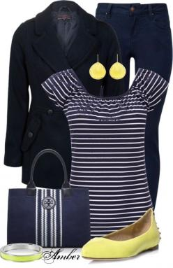"""Navy & Yellow"" by stay-at-home-mom on Polyvore"