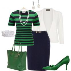 """Navy green and white"" by penny-martin on Polyvore"