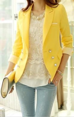 Amazing yellow blazer in combination with lace top and blue jeans create so feminine and gentle look for spring 2015.: Style, Lace Top, Stripe Tailored, Outfit, Blazers, Long Sleeves, Yellow Blazer