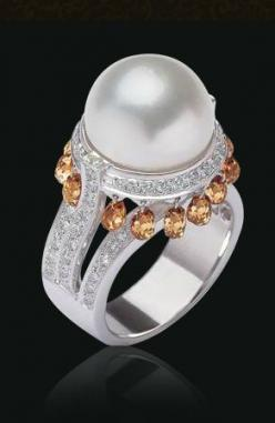 Bapalal Keshavlal ~ Exquisite Pearl & Diamond Ring