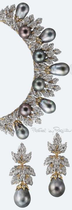 Buccellati ~ Pearls and Diamond Necklace and Earrings 2015