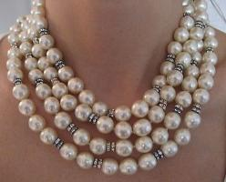 "Chanel Pearl & Diamond Sautoir Necklace..These vintage glass pearls are in mint condition. They are unusually long, measuring 71"", perfect runway couture! They can be worn in several different lengths depending how many times they're wound aro"