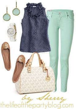 so cute for spring, although I wouldn't wear light blue skinny jeans. It would look cute with white straight legs too!