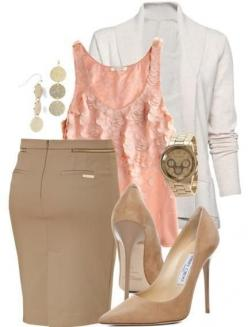 Summer work outfit...cute for the office, but would also be just as cute with khaki pants, and flats