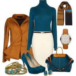 Teal suede heels, White pencil skirt, Teal knit turtle neck shirt, Mustard blazer -> Black skinny belt, Tral&Gold handbag, Gold watch, Gold &turquoise multi bracelets | Love the teal & mustard color combo! | 16 Elegant Polyvore Combinations