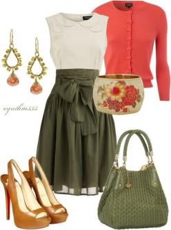 two colors i wouldn't think of putting together. full green skirt, coral cardigan, flower accessories