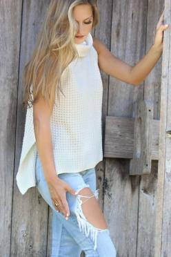Wrapped In Warmth Turtleneck Sweater White Crochet Knit Sleeveless