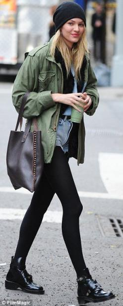 Candice Swanepoel.. sheer stockings + khaki jacket + denim tear-away shorts.. booties.. city chic.. Even toned down, she's adorable.: Jacket, Fashion, Candice Swanepoel, Street Style, Outfit, Candiceswanepoel, Christmas Gift, Fall Winter