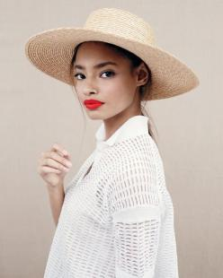J.Crew women's Collection mesh polo and wide-brimmed beach hat.: Straw Hats, Style, Makeup, Malaika Firth, Red Lipstick