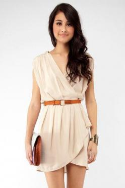 New Colors on the Block Belted Dress in Taupe $33 at www.tobi.com