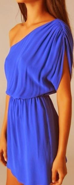 Off Shoulder Blue Silk Dress- love the color and style