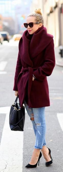 That plum toned coat will warm you right up. I love how this style doesn't hide her shape and still gives definition in the right places: Jacket, Wrap Coat, Color, Street Style, Winter Outfit, Winter Fashion, Fall Winter, Winter Coats
