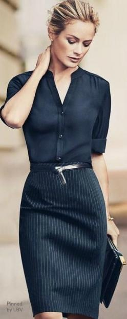 Black shirt with black stripe pencil skirt is both classic for the office and a fine dining..: Work Wear, Pencil Skirts, Work Outfits, Work Style, Workwear, Work Attire