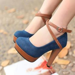 Gorgeous dark blue navy suede and brown leather ankle strap heels. Adorable shoes!