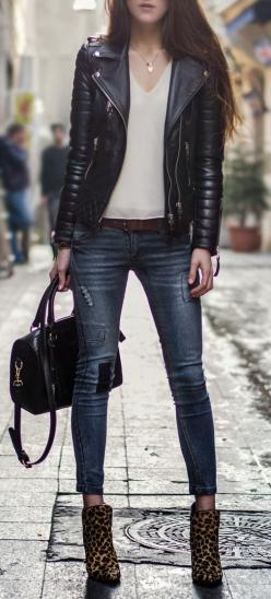 I dont like the shoes, but the Leather jacket in combination with the white shirt... awesome!: Edgy Outfit, Fashion, White Shirts, Street Style, Leather Jackets, Biker Outfit